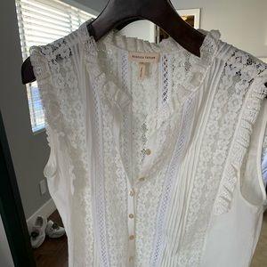 Rebecca Taylor cotton & lace trim shirt